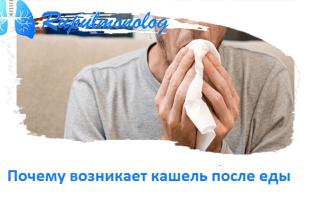 Почему появляется кашель после еды